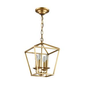 Diamante stile rame ottone dorato appeso a catena ciondolo luce lampada gabbia nido nido dinning soggiorno lampada a sospensione dorata luce