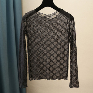logotipo carta bordados novo design das mulheres manga longa perspectiva o-pescoço gaze de malha t-shirt plus size S M L