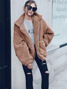 Women Winter Faux Fur Coat Fashion Lapel Neck Thickened Warm Fluffy Outwear Casual Long Sleeve Women Clothing