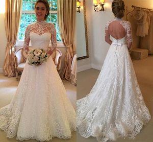 Урожай полный шнурок линия Свадебные платья с длинными рукавами высокого шеи Backless Свадебные платья высокого качества Дешевые Свадебные платья