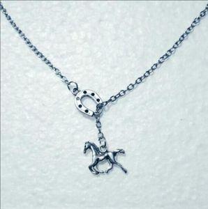 Caballo de plata de la vendimia de la moda / mosca de caballo herradura colgante ajustable Cruz Lariat collar para las mujeres de los hombres del punk gótico regalo de la joyería 861