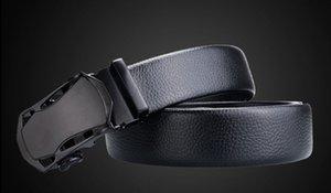 Fashion Automatic Buckle Black Genuine Leather Belt Men's Belts Cow Leather Belts for Men 3.5cm Width