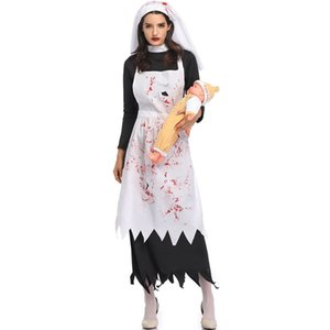 Nun Dress Props Adult Womens Sets Costumes Halloween with Apron Hat Cosplay Clothes Vampire Demon Party Apparel