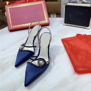 Brand Design Italie style de haute femmes talon chaussures habillées de soie vamp bout pointu chaussures unique luxe élégant chaussures de soirée femme perle de cristal