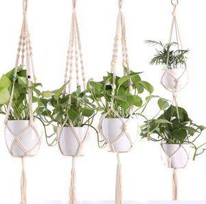 냄비 걸이 100 % 수제 Macrame 공장 옷걸이 벽 장식을위한 꽃 냄비 걸이 군도 정원 장식 macrame 식물 옷걸이 장식