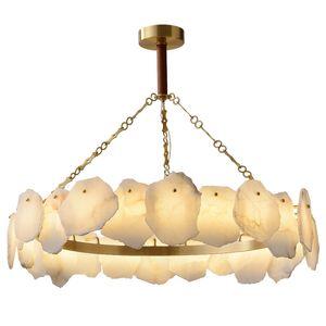 Nordic Luxury Медь Белый мрамор LED Люстра Art Home Hotel Гостиная Подвеска Свет Decor PA0622