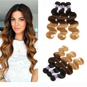 Brazilian Colored Virgin Human Hair Weaves Body Wave Bundles Ombre Three Tone Brazilian 1B 4 27# Dark Brown Human Hair Extensions