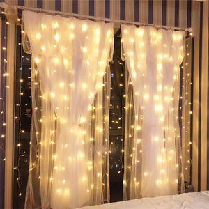 3 M X 2 M Noel Işıkları 110 V 220 V Romantik Peri Yıldız Tatil Düğün Için LED Perde Dize Aydınlatma Garland Parti pencere Dekorasyon ışık