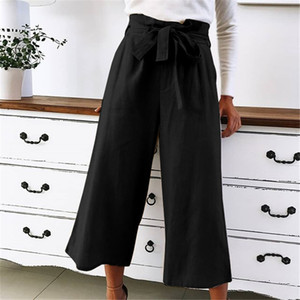 Womens Pants Designer perna larga Pure roupas da moda cor cordão Bow soltos Calças Roupa descontraída Womens