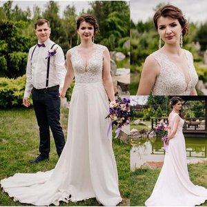 boho A-Line abiti da sposa sexy con scollo a V country vintage chiffon pizzo abiti da sposa sweep train beach lunghi abiti da sposa Custom Made