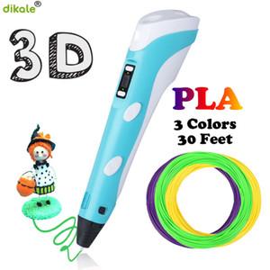 dikale 3D الأقلام 2ND الجيل LED شاشة عرض 1.75mm PLA DIY الذكية 12V 3D رسم طابعة القلم 3 D القلم أفضل هدية للأطفال Y200428