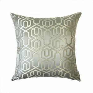 Free Shipping Contemporary Geometric Gray Pillows Jacquard Woven Cushion Cover Home Indoor Decorative Pillow Case 45 x 45cm Y200104