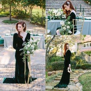 Emerald Green Velvet Abendkleider lange Hülse tiefem V-Ausschnitt Backless Nixe Partei-Kleider Abendkleider Plus Size Roben de Soiree