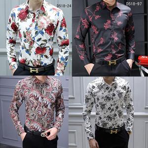 Camisas casuales de los hombres de la marca HOT Moda Harajuku Camisa de traje Camisa de hombre Camisa delgada de lujo Medusa Negro Oro Fantasía Camisas ajustadas con estampado 3D