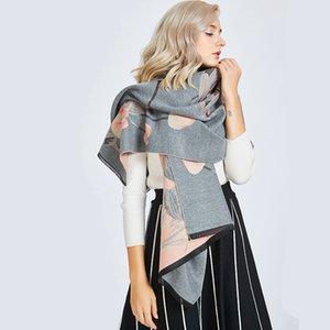 2019 Automne et Hiver chaud nouvelles femmes Wrap épais Double Châle Fashion Designer Tulip Flower Scarf