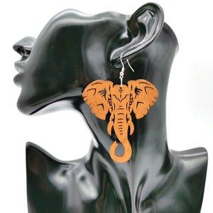 Tropfen YDYDBZ New Elephant Tropfen Ohrringe Holz Schmuck Frauen-Anhänger große Ohrringe Afrika ethnische Art Accessoires Hochzeit Ohrring Geschenke