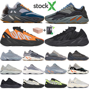 New Reflective onda corredor ímã 700 Triplo Preto Carbono Azul inércia do osso Tie Dye kanye west dos homens correndo sapatos femininos formadores sneakers