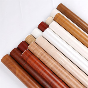 PVC Wood Grain Wallpaper For Kitchen Films Reconditioned Clothes Closet Door Furniture For Home Decor Wall Sticker