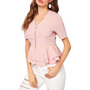 женские рубашки и топ 2020 женский розовый топ оборками с коротким рукавом повседневная V шеи OL стиль женщины свободные футболки