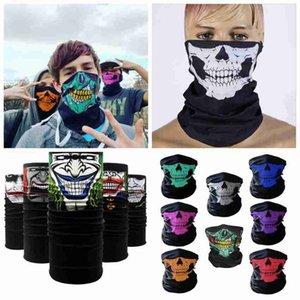 Велоспорт банданы череп маска для лица Хэллоуин волшебные шарфы Спорт на открытом воздухе магия тюрбан шейный платок оголовье ZZA2373 Океанская доставка