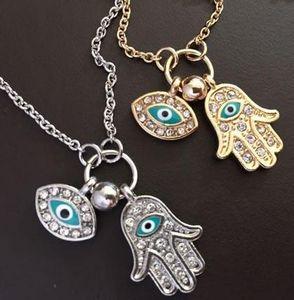 Золотое Колье Цепи Турция Голубое Ожерелье Дурного Глаза Хамса Рук Фатима Пальм Ожерелье