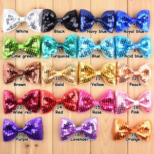 Bowknot Tie Christmas 19 Colors Embroidery Sequin Bows WITH CLIP For Baby Girls Christmas Gifts Kids Hair DIY Accessories EEA875