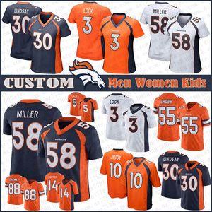 58 Von Miller DenverCustom Men Women Kids BroncosFootball Jerseys 10 Jerry Jeudy 30 Phillip Lindsay 3 Drew Lock 55 Chubb 14 Sutton