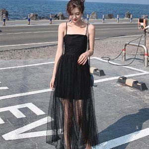 Women Dresses New Summer 2020 Maxi Dress Sleeveless Sling Mesh Long Black Dress Women casual Evening Party Dresses