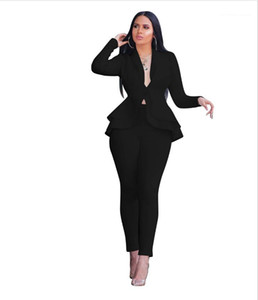 Lotus Hidden Leaf Breasted Manga comprida terno slim Calças Two Piece Suit Womens Sólidos terno Cor Profissional