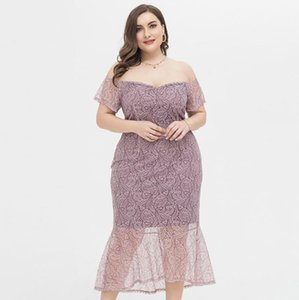 Plus Size Summer Lady Clothes New Style Sexy Slim Fit Clothing Deep V Neck Off Shoulder Prom Dresses Lace Hollow Dress Women