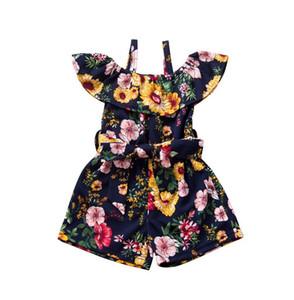 Kind-Mädchen-Overall-Sommer-Baby-Spielanzug-Blumenblumen-Garten Printed INS Kombis Shorts Ein Stück Kinderkletterkleidung CZ413