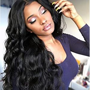 18 Inch Lace Frontal Wig Pre Plucked with Baby Hair Brazilian Remy Deep Body Wave Lace Human Hair Wigs for Black Women Natural Color