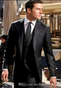 Black Stripe Man Work Business Suit Groom Wedding Tuxedos Mens Prom Party Dresses Set (Jacket+Pants+Vest+Tie) J203