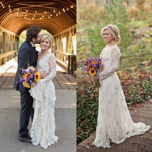 مذهلة كيلي كلاركسون البلد فساتين زفاف ربيع طويل الأكمام مطرز البوهيمي الرباط فساتين زفاف زائد الحجم شاطئ أثواب الزفاف