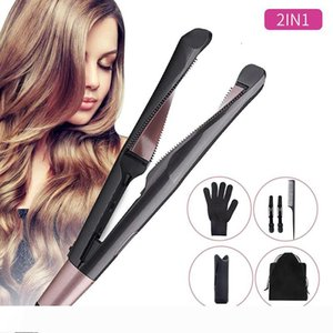 Professional 2 in 1 hair curler and straightener in one Twist curling iron salon flat irons styler Tourmaline ceramic curly