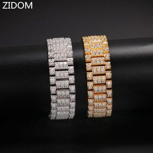Men Women Hip hop iced out bling bracelets micro pave Zircon High quality fashion punk watchband bracelet Hiphop jewelry
