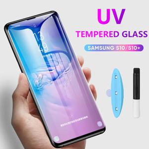 УФ Жидкий клей Полный закаленное стекло для Samsung Galaxy S8 S9 S10 S20 Ультра Примечание 8 9 10 Plus Screen Protector Полное покрытие без упаковки