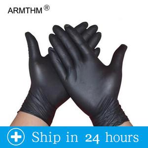 Sol ve Sağ El için 100pcs Siyah Tek kullanımlık eldiven Lateks Bulaşık / Mutfak / İş / Kauçuk / Bahçe Eldivenler Evrensel
