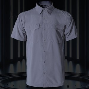 Summer Quick Dry Short Sleeve Army Fan Tactical Shirt Mens Thin Breathable Lapel Cargo Shirts Tops Outdoor Hiking Shirt