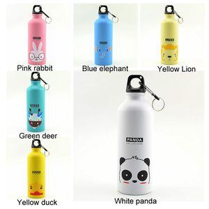 Großen Kapazitäts-Sport-Wasser-Flaschen im Freien beweglichen Radfahren Camping Aluminiumlegierung für Kinder Tassen Wasser-Flaschen DH1106 T03 500ml reizenden Tieres