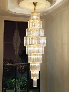 Cristal Grand Lustre Escaliers long Lustres Suspension Lumière Salon Escalier Villas Hôtel Lobby Pendant Lampes Lumières