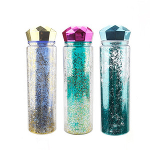 Новый творческий двухстенными изолированного пластиковой бутылки воды бутылку с водой на заказ блестки с ромбовидной крышкой