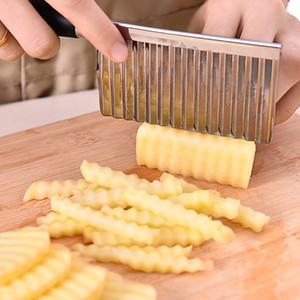 Potato ondulate orlato coltello da cucina in acciaio inossidabile gadget di verdure della frutta di taglio Strumento di cucina Accessori patate fritte macchina