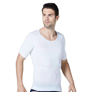 Fashion Short Sleeve Mens Slimming Body Shapers Fitness Protecting The Waist Body Vest Homme Underwear Shaping Vests