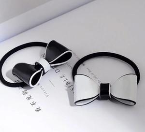 4x3cm arc simple acrylique noir et blanc cravate élastique de mode C anneau de cheveux couvre-chef pour la conception de luxe dames de collection articles cadeau vip