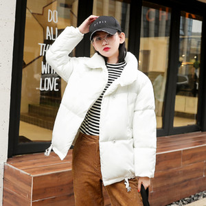 Breasted Buttons Women Winter Down Jacket Stand Collar Oversize Loose Female Down Coat Short Puffer Jackets