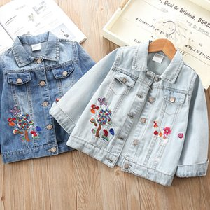 Girls' denim clothing spring and autumn 2020 new children's clothing Korean version of baby children's cartoon deer embroidered