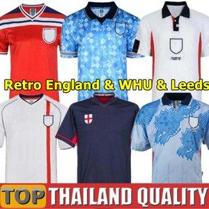 Retro Inglaterra de Futebol SHEARER BECKHAM camisa do vintage de futebol 1982 1989 1990 1992 1994 1998 2002 Gerrard Scholes Owen Heskey