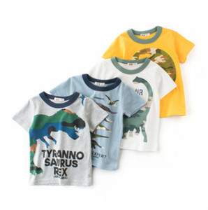 Children Designer T Shirts Boys Fashion Dinosaur Printed T Shirts Kids Brand Casual Breathable Short Sleeve Tees Tops Child 2020 Clothing