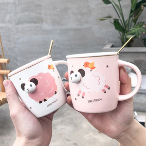 Creative Lamb Ceramic Mugs 3D Cartoon Animal Coffee Mug with Cover Spoon Frosted Milk Breakfast Ceramic Cup Ladies and Kids Cup